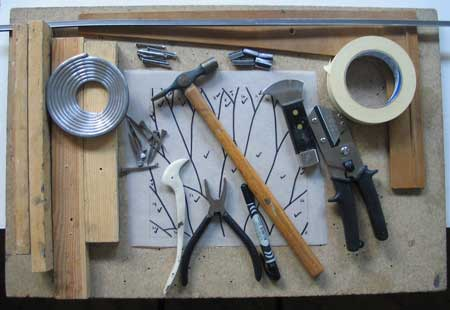 all the tools for making leaded stained glass